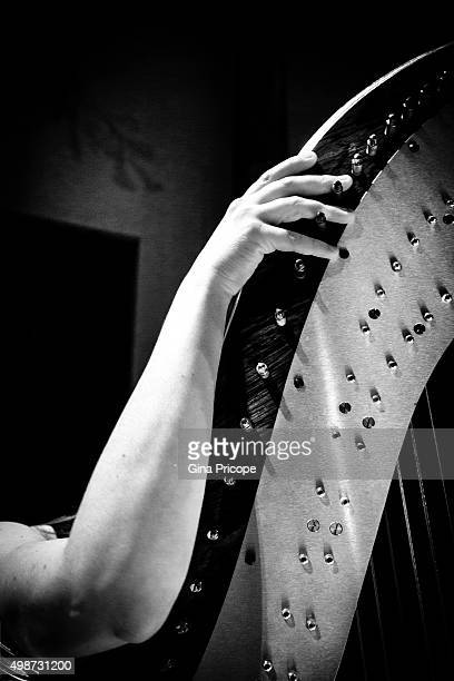 Woman hand on the neck of the harp.
