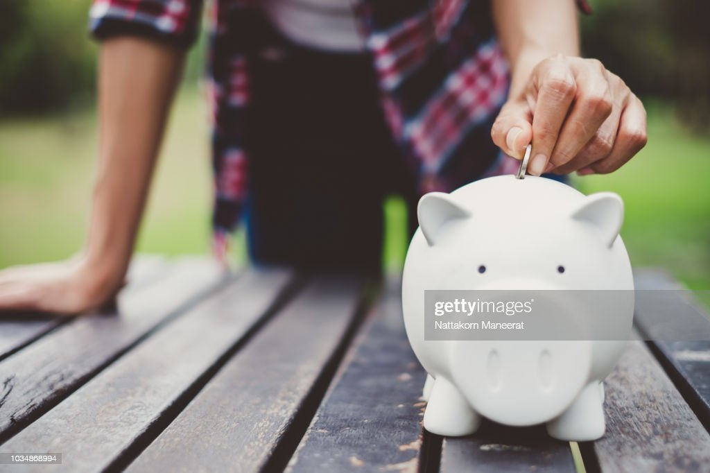 woman hand putting coin into piggy for saving money wealth and financial concept. : Stock Photo