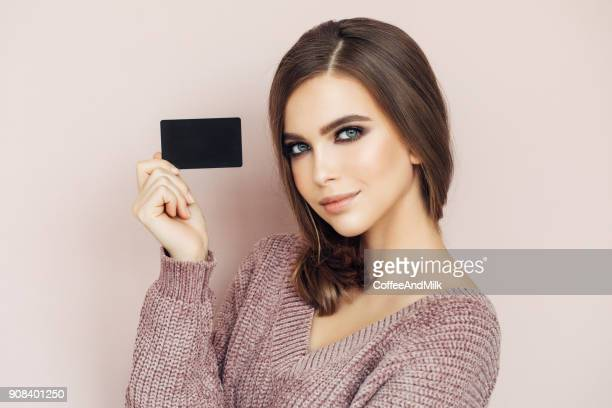 Woman Handing Business Card