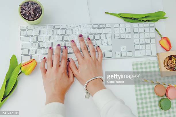 woman  hands on laptop