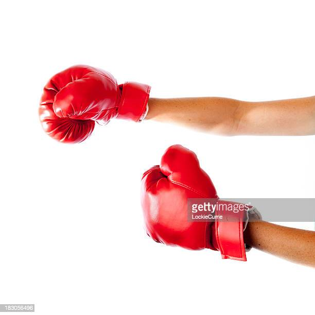 woman hands with boxing gloves on white background - boxing gloves stock photos and pictures