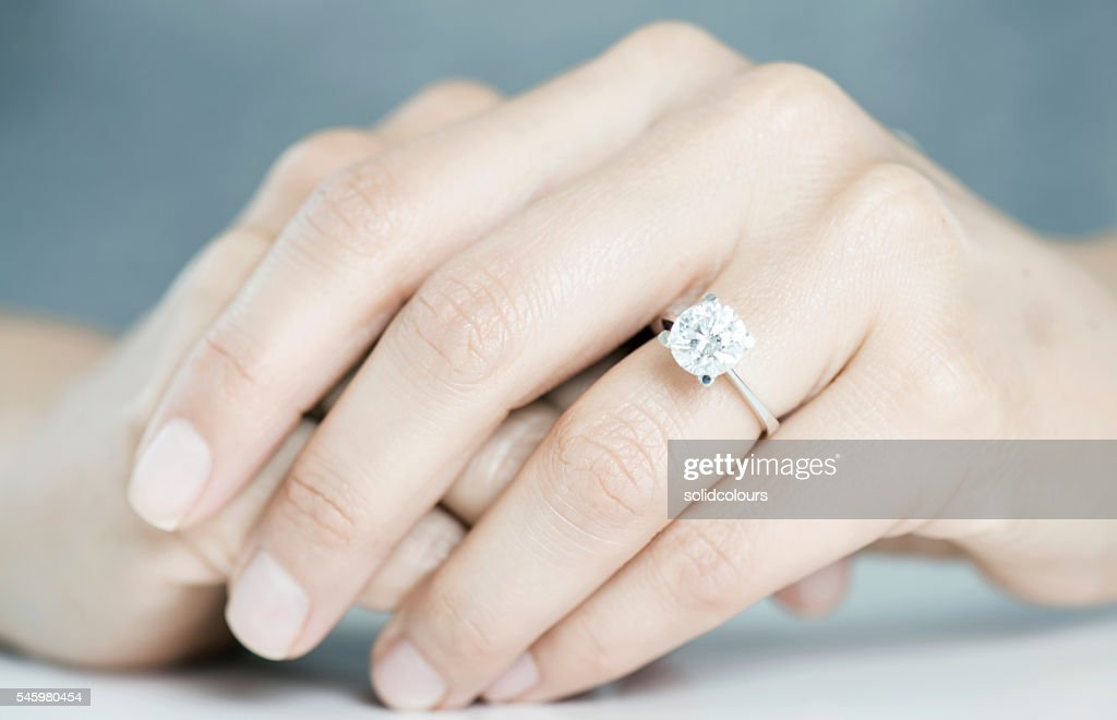 ... Woman Hands With Engagement Ring ...