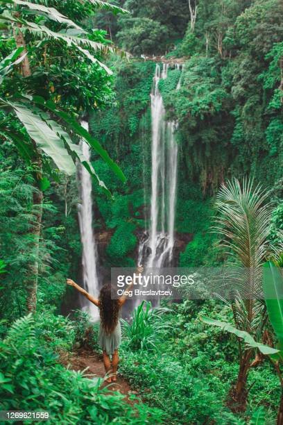 woman happy to see famous bali waterfall sekumpul. view from behind. popular landmark in indonesia. - behind waterfall stock pictures, royalty-free photos & images