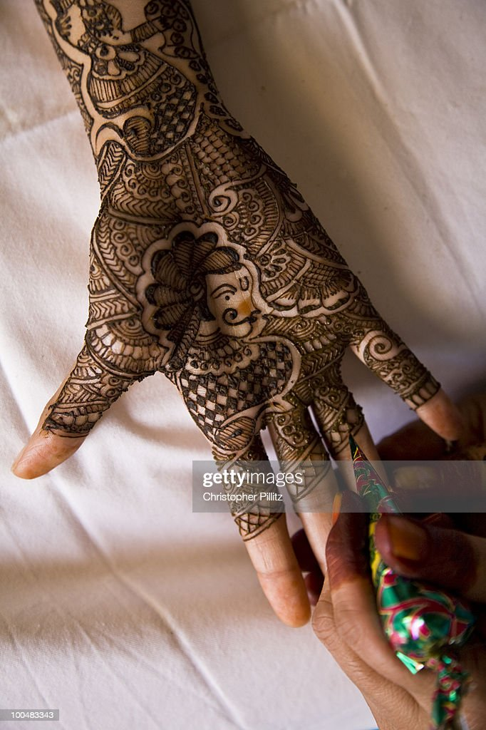Woman Has Henna Applied To Her Upper Arm Stock Photo Getty Images