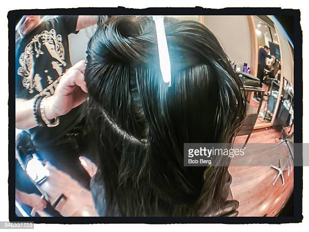 Santa Monica Ca March 18 2015 A woman has her hair parted as part of the hair coloring process at the luxelab apprenticeship master class