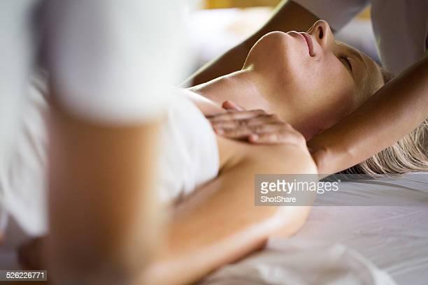 Woman have full body massage