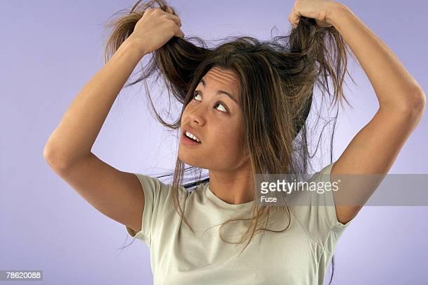 Woman Having Bad Hair Day