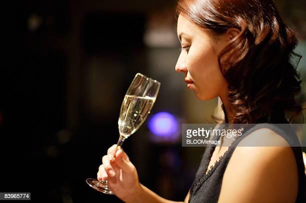 Woman having champagne