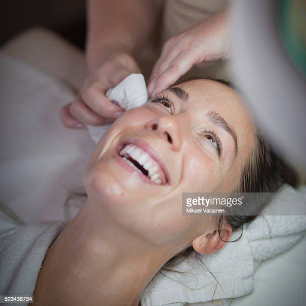 woman having facial - beautician stock pictures, royalty-free photos & images