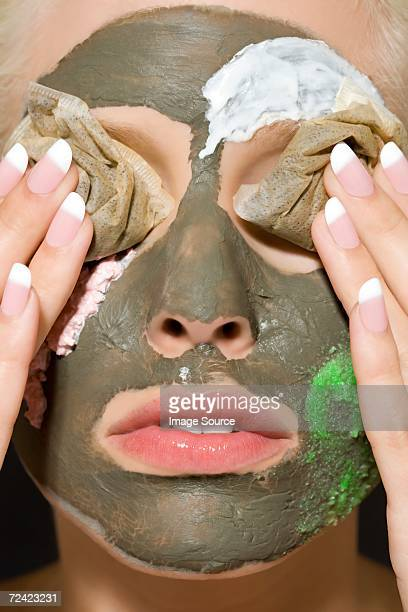 Woman having facial