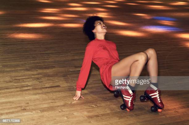 Woman having fun at roller disco