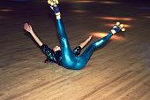 Woman having fun at roller disco