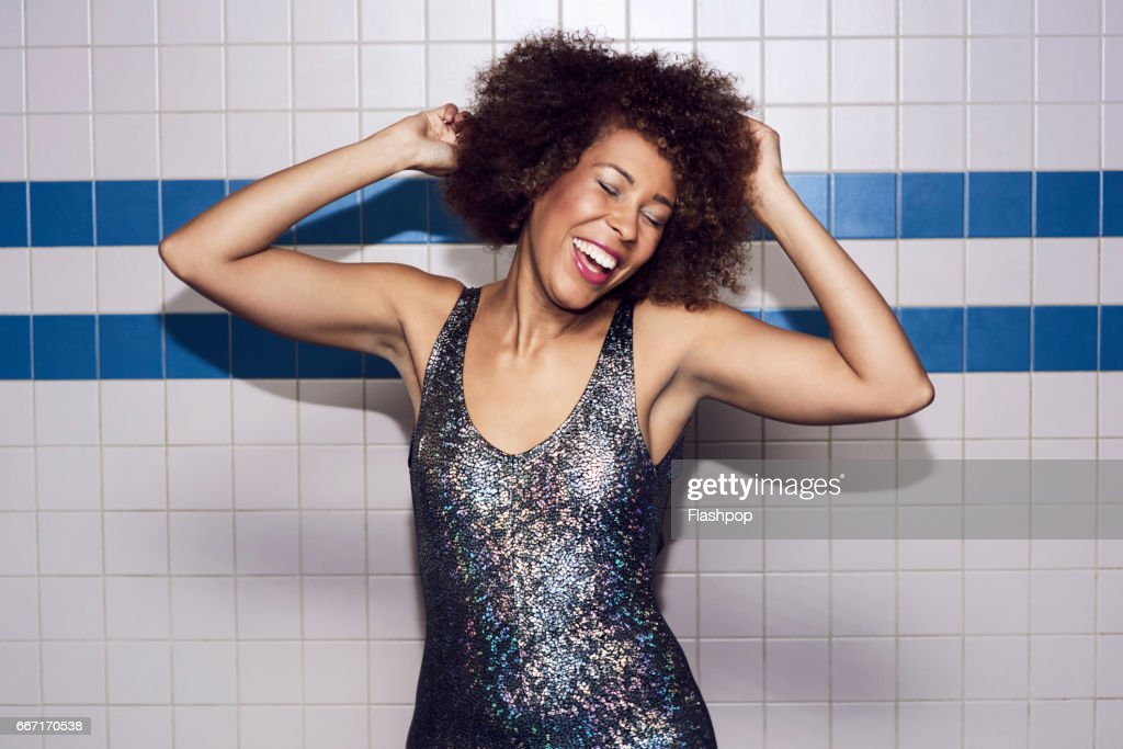 Woman having fun on evening out : Stock Photo