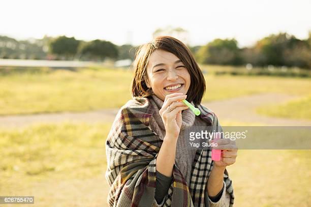 Woman having fun time in outdoors