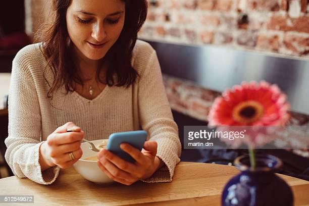 Woman having lunch break