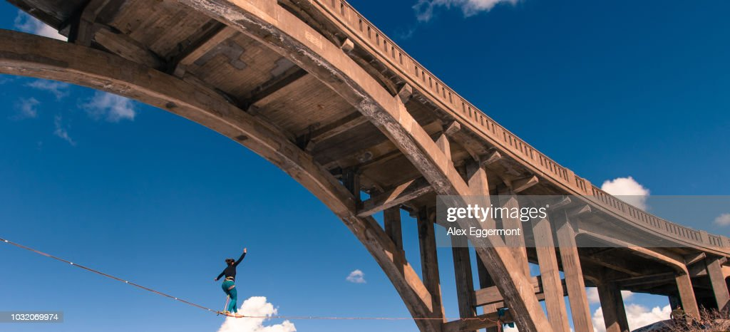 Woman highlining, Donner Pass, Truckee, California, USA : Stock Photo