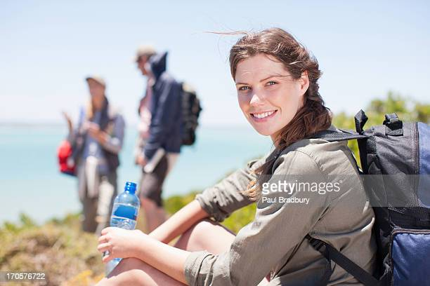 woman hiker drinking water - 30 39 years stock pictures, royalty-free photos & images
