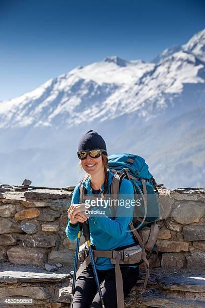 Woman hiker Hiking Around Annapurna Trek, Nepal