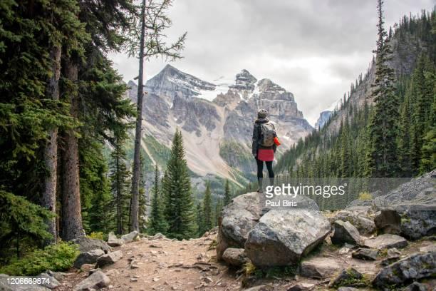 woman hiker on plain of six glaciers trail, banff national park, canada - montañas rocosas canadienses fotografías e imágenes de stock