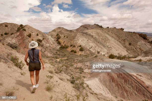 Woman hiker walks Fossil Discovery Trail Morrison Formation Dinosaur National Monument Utah
