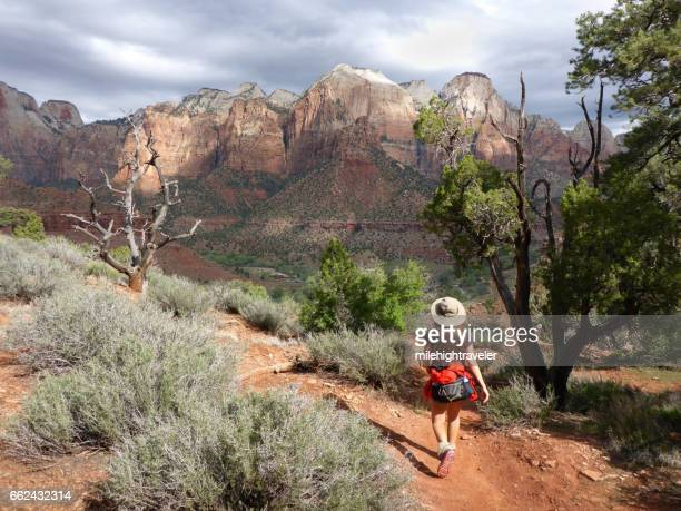 woman hikes zion national park desert watchman trail utah - zion national park stock pictures, royalty-free photos & images