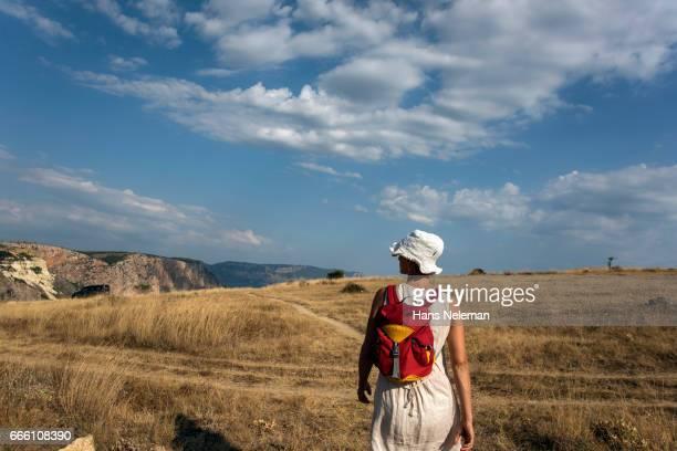 woman hiking alone - hans neleman ストックフォトと画像