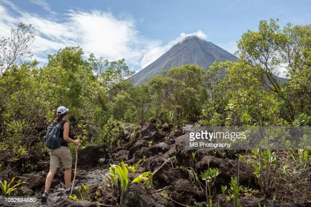 woman hiking arenal 1968 trail - costa rica stock pictures, royalty-free photos & images