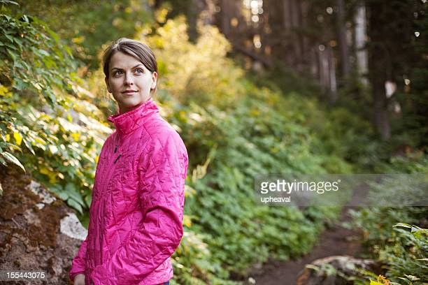 woman, hiking forest trail - pacific crest trail stock pictures, royalty-free photos & images