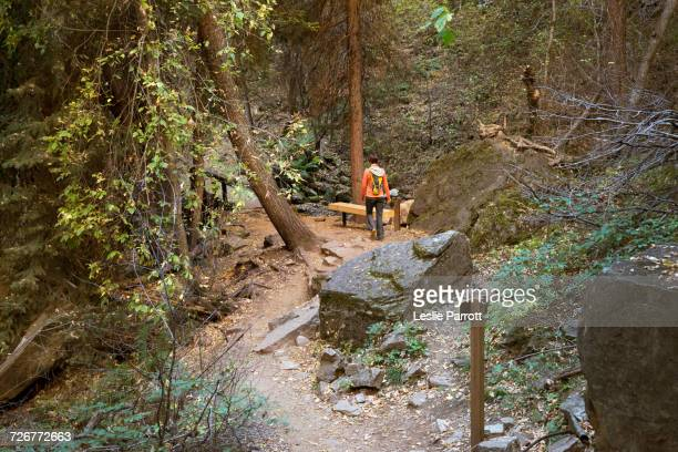 Woman Hiking Hanging Lake Trail