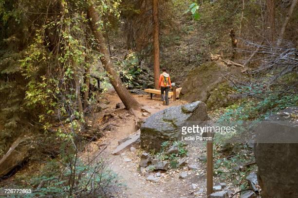 woman hiking hanging lake trail - beaver creek colorado stock pictures, royalty-free photos & images