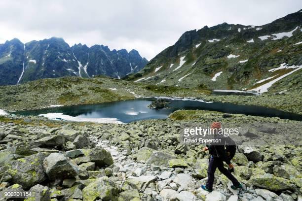 Woman hiking in High Tatras mountains of Slovakia