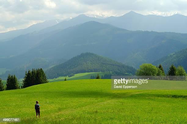 Woman hiking in High Tatras of Slovakia