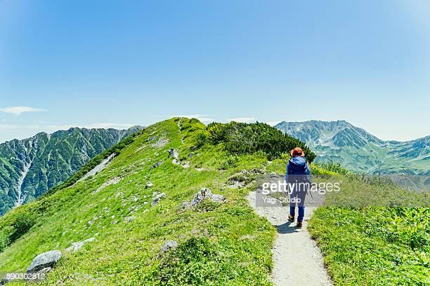 woman hiking in okudainichidake,japan - paisajes de japon fotografías e imágenes de stock