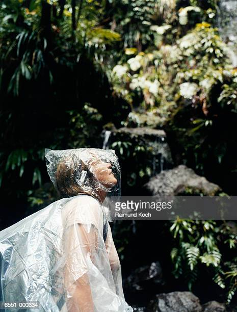 Woman Hiking in Rainforest