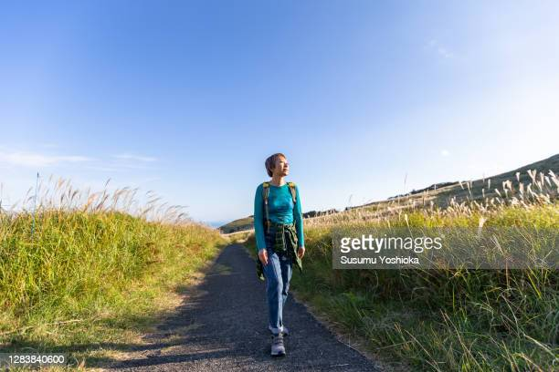 a woman hiking in the mountains in the fall - manches longues photos et images de collection