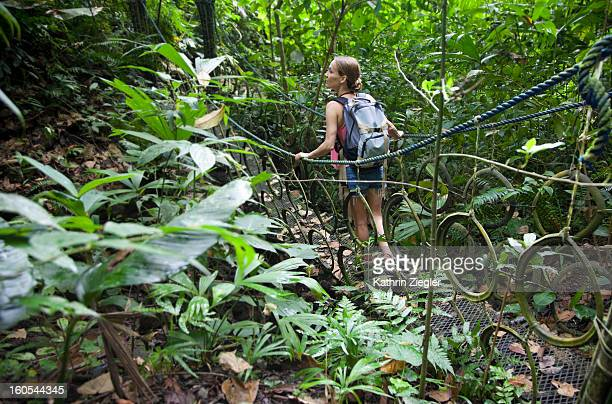 woman hiking in the rainforest
