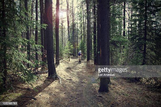 woman hiking in the trees