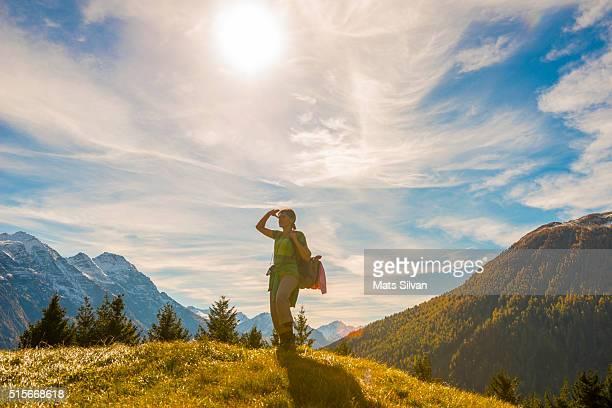 Woman hiking mountain
