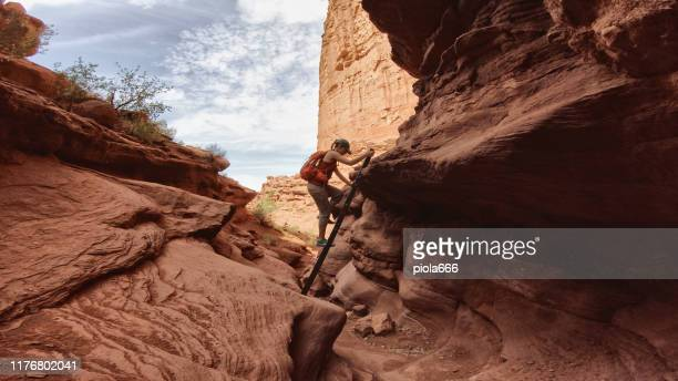 woman hiking near canyonlands, moab - canyonlands national park stock pictures, royalty-free photos & images