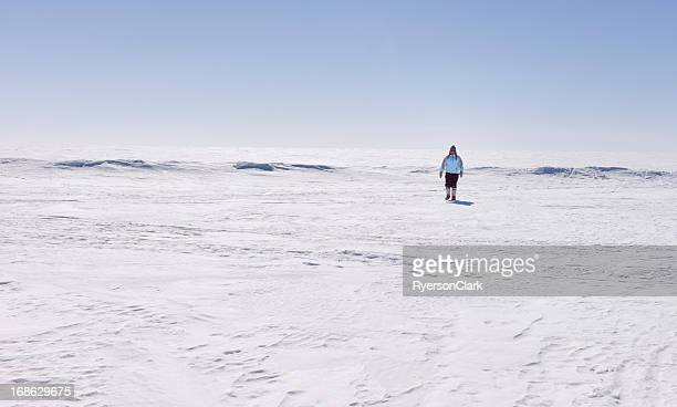 Woman Hiking on Great Slave Lake, Northwest Territories, Canada