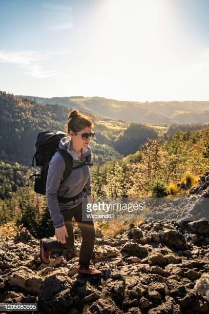 woman hiking on rocky trail, karlsruher grat, ottenhoefen, black forest, germany - baden württemberg stock-fotos und bilder