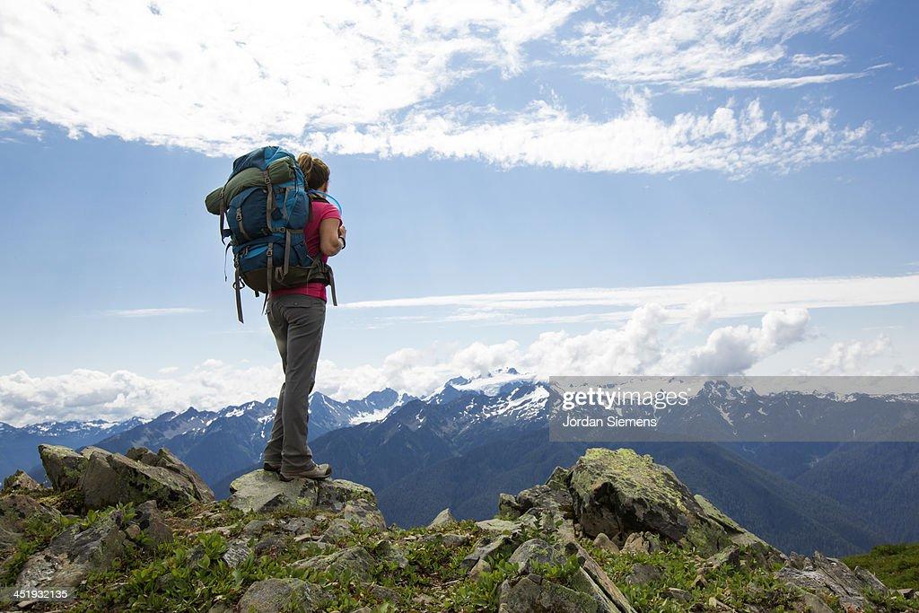 Woman hiking outdoors : Stock Photo