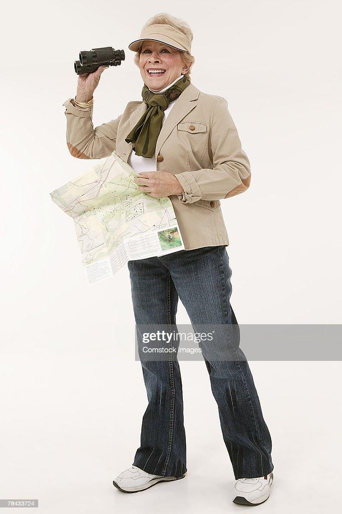 Woman hiking : Stockfoto