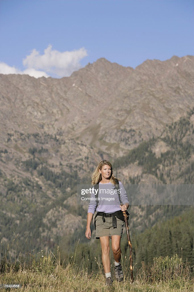 Woman hiking : Stockfoto
