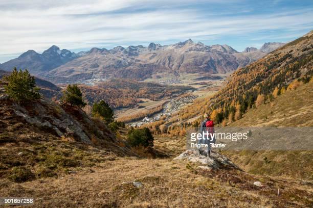 woman hiking - kanton graubünden stock-fotos und bilder