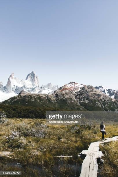 woman hiking to fitz roy in patagonia - chalten stock pictures, royalty-free photos & images