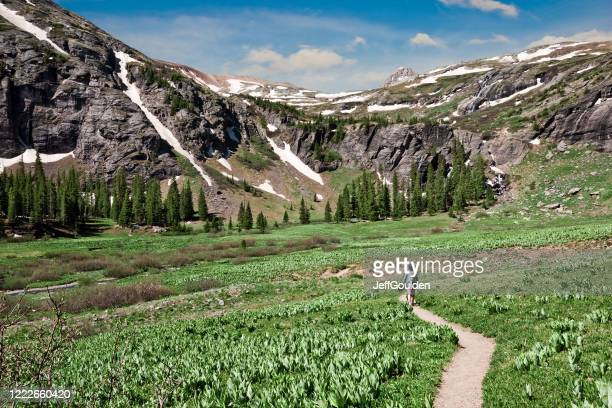 woman hiking to upper ice lakes basin - jeff goulden stock pictures, royalty-free photos & images