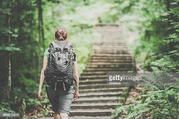 woman hiking trekking with backpack on footpath in forest - seguir atividade móvel - fotografias e filmes do acervo