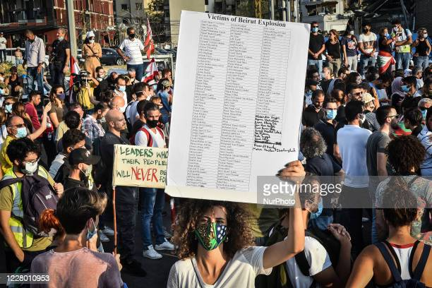 Woman hold a banner shows the name of victims of Beirut Explosion during a protest near the port, on August 11, 2020 in Beirut, Lebanon. Last week's...