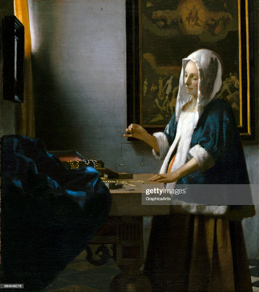 Woman Holding a Balance (by Jan Vermeer, Dutch, 1632 - 1675), circa 1664. From the National Portrait Gallery, Washington DC. Oil on canvas.